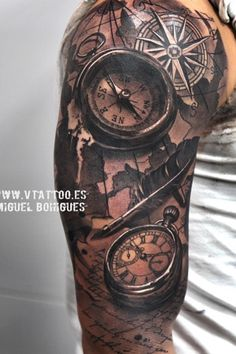 map tattoo compass More