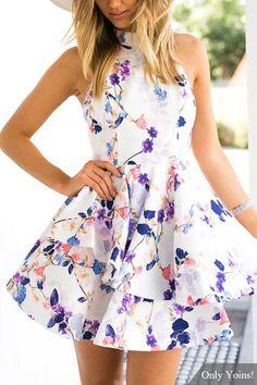 Floral Print Sleeveless Open Back Mini Dress -YOINS