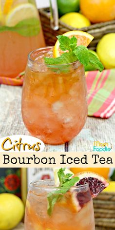Citrus Bourbon Iced Tea is freshly brewed and spiked with bourbon whiskey and blood orange liqueur. Iced Tea Cocktails, Bourbon Drinks, Bourbon Whiskey, Cocktail Recipes, Summer Bourbon Cocktails, Vintage Cocktails, Festive Cocktails, Cocktail Ideas, Scotch Whiskey