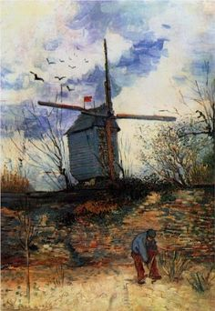 Moulin de la Galette 1886. Vincent van Gogh.  How does he do it?  There's something so captivating about Van Gogh paintings.  There's largeness, texture, motion, color, and mood in them. When I look at them, I expect to start smelling and hearing from the picture too.  Wow, he was a talented artist.