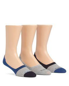 Calvin Klein Color Block No Show Socks, Pack of 3