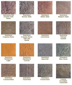 Stamped Concrete Textures - for the floor of the pavilion. Concrete Overlay, Concrete Color, Concrete Texture, Concrete Cement, Stamped Concrete, Driveways, Walkways, Driveway Ideas, Earth Pigments