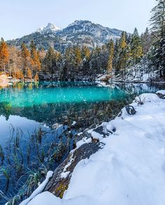 Snow and reflection Blausee Switzerland by christofs70