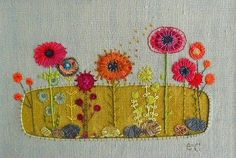 Love these mixed mediums creations; see more on her website Liz Cooksey ~ Textile Artist . Hand Embroidery Stitches, Embroidery Techniques, Embroidery Applique, Cross Stitch Embroidery, Embroidery Patterns, Machine Embroidery, Fabric Art, Fabric Crafts, Sewing Crafts