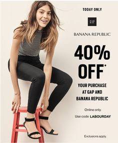 Gap & Banana Republic Canada Online Offers: Save 40% Off Your Purchase Today http://www.lavahotdeals.com/ca/cheap/gap-banana-republic-canada-online-offers-save-40/114336