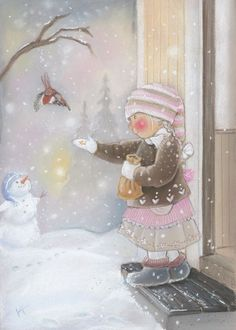 Find images and videos about christmas and snow on We Heart It - the app to get lost in what you love. Vintage Christmas Cards, Christmas Pictures, Christmas Art, Vintage Cards, Winter Christmas, Holiday, Winter Illustration, Christmas Illustration, Children's Book Illustration