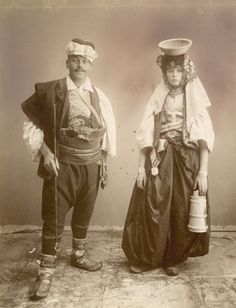 A young Serbian couple is elegantly dressed in elaborate costume. Sarajevo, Bosnia