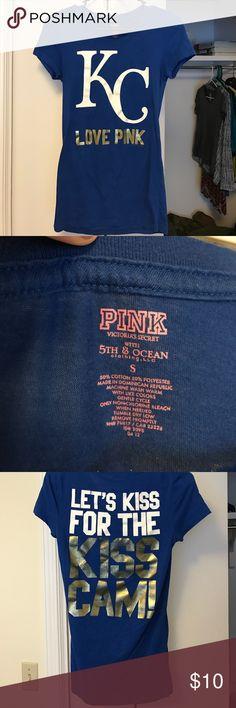 """KC pink shirt """"Kansas City Royals"""" Victoria Secret Pink t-shirt. My absolute favorite shirt but muffins happen. PINK Victoria's Secret Tops Tees - Short Sleeve"""