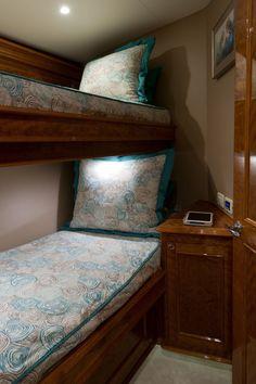 Mama Who forward bunk room,custom made bedding, luxe carpet and artwork, Crystal Coast Interiors