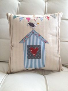 The Naughty Seagull - unique handmade cushion £25.00