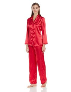 Womens Red Satin Pajamas