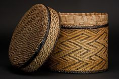 Basket   19th century, inventoried 1897 Geography: Cabinda, Angola Culture: Kongo peoples Medium: Fiber, wood, pigment Dimensions: H. 8 5/8 in. (22 cm), Diam. 8 5/8 in. (22 cm)