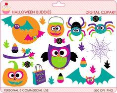halloween clipart digital clip art owl pumpkin bat spider - BUY 2 GET 2 FREE - Halloween Buddies Digital Clipart