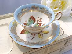 LIGHT Blue Antique Teacup Vintage Handpainted Bone China Tea cup by Foley Bone china England by StudioVintage on Etsy