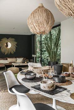 Home Design, Home Interior Design, Interior And Exterior, Rattan Light Fixture, Light Fixtures, Dining Room Design, Bohemian Decor, Home Accessories, Outdoor Furniture Sets
