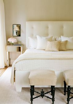Neutral bedroom by interior designer will wick via lonny mag