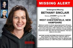 BETHANY SINCLAIR, Age Now: 30, Missing: 02/03/2001. Missing From WEST CHESTERFIELD, NH. ANYONE HAVING INFORMATION SHOULD CONTACT: New Hampshire State Police 1-603-271-3636 or 1-603-358-3333.