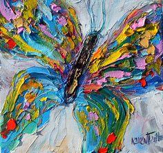 Butterfly painting original oil 6x6 palette knife #butterflyart #butterfly