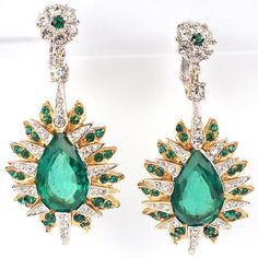 Boucher Gold Pave and Faceted Teardrop Emerald Starburst Pendant Clip Earrings | eBay