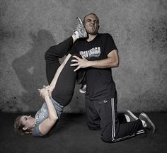 Krav Maga defense from a choke when you are on your back. Love this move!