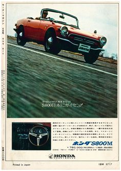 Honda S800M - adv Classic Japanese Cars, Classic Cars, Morgan Cars, Japanese Domestic Market, Honda Motors, Car Brochure, Life Car, Ad Car, Honda Cars