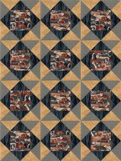 Our quilt kit is already precision pre-cut. packed longhorns, civil war production in navy and antique, grass vine. Cattlemen country men western quilt kit