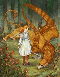 Alice and the gryphon by Florida-based artist Erin Kelso, aka Bluefooted.