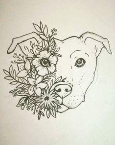 Women Tattoo - Turn this into a lotus tattoo! Staffy tattoo Staffordshire bull terrier Floral - Pin To Pin Lila Tattoo, Doodle Tattoo, Lotus Tattoo, Tattoo Sketches, Tattoo Drawings, Art Sketches, Dog Tattoos, Body Art Tattoos, Animal Drawings