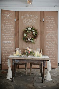 Candles and flowers on sweetheart table.