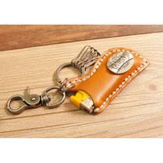 Cowhide Leather Lighter Holder Keychain with 4 Carabiners