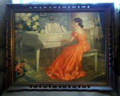 """Large Vintage Signed Antoni Ditlef Framed """"Allegro"""" Lady in Red Playing Piano #Victorian"""