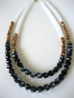 Woman's black gold and white crystal statement necklace, Bridesmaid, Wedding, by CrystalCravings