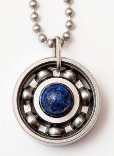 Carry a piece of the night sky with you wherever you go with our lapis lazuli pendant! #derbygirldesigns #bearingjewelry #jewelrythatrocks #lapislazuli #nightsky