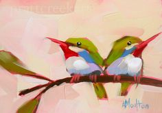 two tody birds original bird oil painting by moulton 5 x 7 inches prattcreekart hummingbird