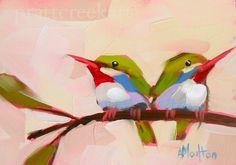 two tody birds original bird oil painting by moulton 5 x 7 inches prattcreekart hummingbird