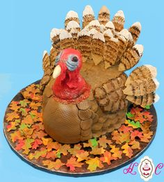 Turkey in Fall Leaves Groom's Cake - All edible including hand-crafted sugar feathers