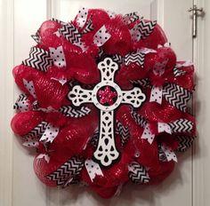 Red, White, & Black Cross Mesh Wreath