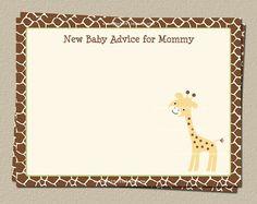 New Baby Advice Cards Giraffe Baby Blessings by TheInviteLadyShop, $15.00 @Etsy.com