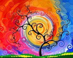 Swirly tree art print 8 by 10 bright colors. $10.00, via Etsy.