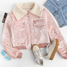 To find out about the Contrast Fluffy Lapel Velvet Jacket at SHEIN, part of our latest Jackets ready to shop online today! Swag Outfits, Girly Outfits, Teenage Outfits, Pretty Outfits, Girls Fashion Clothes, Winter Fashion Outfits, Fashion Fashion, Urban Fashion Trends, Cute Comfy Outfits
