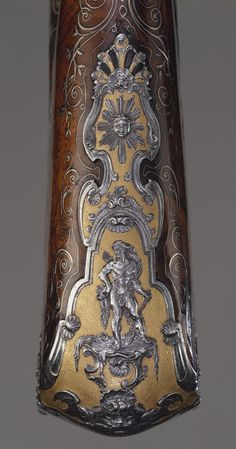 Detail from a flintlock gun made by Louis Jaley, Nicolas Carteron Joseph Blachon, Saint-Étienne, France, 1735