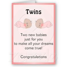 New Born Baby Twins Greeting Card #twins #baby #card