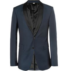 Holiday Formal–Black Tie Formal the invitation reads, but the rebel in you couldn't imagine being another penguin… Black Tie Formal, Formal Suits, Designer Tuxedo, British Fashion Brands, Blue Tuxedos, Evening Attire, Elegant Man, Burberry Jacket, Tuxedo Jacket