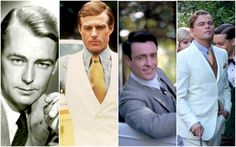 Four actors who have played Jay Gatsby: Alan Ladd, Robert Redford, Toby Stephens and Leonardo DiCaprio