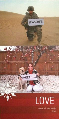 What an awesome way to continue tradition even when military life has other plans (how sweet! I hope none of my military friends never have to spend Christmas away from their spouses - but pinning just in case) Family Christmas Cards, Christmas Photos, Holiday Cards, Christmas Ecards, Funny Christmas, Creative Christmas Cards, Christmas Ideas, Xmas Pics, Merry Christmas