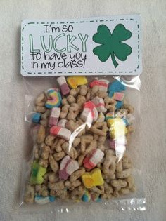 St. Patricks Day gift: Im so LUCKY to have you in my class! at lunch with a plastic spoon and their little milk cartons