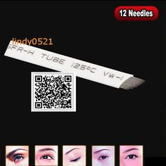 200 pcs/lot 전문 영구 메이크업 블레이드 눈썹 문신 블레이드 12 바늘 수동 문신 펜 무료 배송