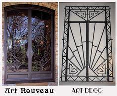 Art Nouveau Deco vs Art Deco Doors- I found these great pictures that highlight the differences. Art Nouveau, Art Deco Door, Estilo Art Deco, Art Deco Stil, Art Deco Movement, Art Deco Pattern, Modern Materials, Art Deco Design, Amazing Architecture