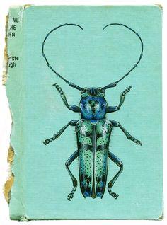 Rose Sanderson - Aqueous Longhorn Beetle - Acrylic on Book - AVAILABLE