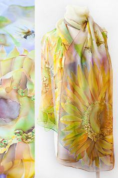 Silk Shawl Golden Colors Hand Painted Honey Bee and Sunflowers